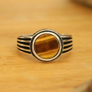 925 Sterling Silver Men's Rings Tiger Eye Stone